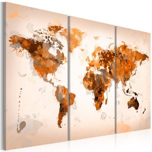 Obraz - Map of the World - Desert storm - triptych