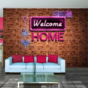 Fototapeta - Welcome home - pink neon